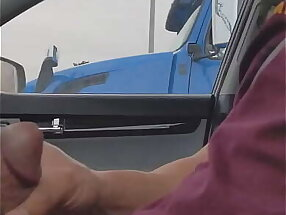 Trucker gives thumbs up after seeing cock