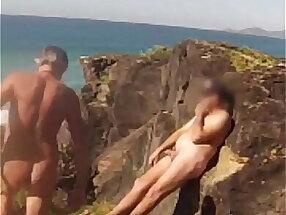 Nudist beach he touches me
